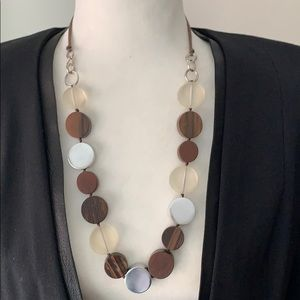 Multi color flat circle beaded statement necklace